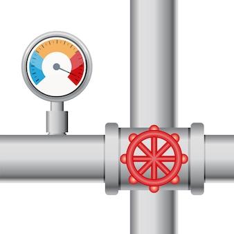 Medidor de temperatura con tubo y válvula.