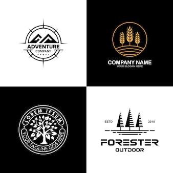 Medio ambiente y colección de logotipos exteriores.