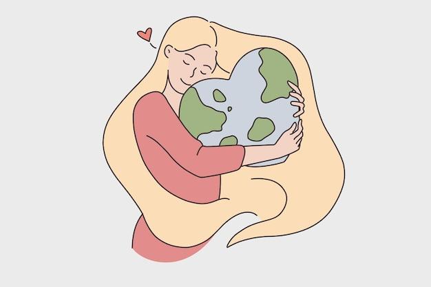 Medio ambiente y cuidado del concepto de planeta. joven mujer rubia sonriente abrazando abrazando el planeta tierra en forma de corazón sintiendo amor ilustración vectorial