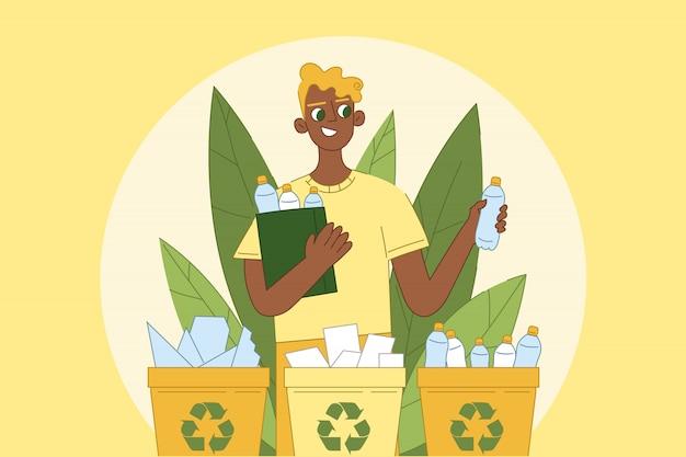 Medio ambiente, naturaleza, clasificación, cuidado ecológico, reutilización, concepto de protección.