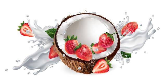 Medio coco y fresas en un chorrito de leche o yogur sobre un fondo blanco.