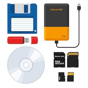 Medios de almacenamiento disquete, unidad de disco duro externa, unidad flash, lápiz de memoria usb, disco cd, micro sd