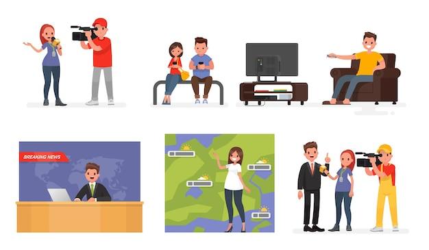 Medios de comunicación en masa. un conjunto de personajes, noticias y periodistas destacados, personas que leen las noticias en internet y la persona que ve la televisión. en un estilo plano