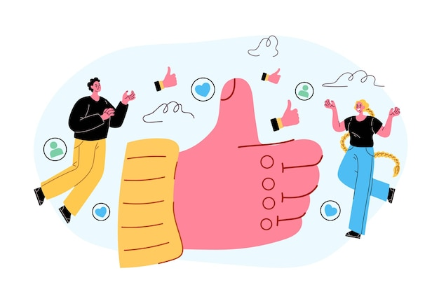 Medios de comunicación social como botón pulgar arriba concepto vector plano aislado estilo moderno ilustración
