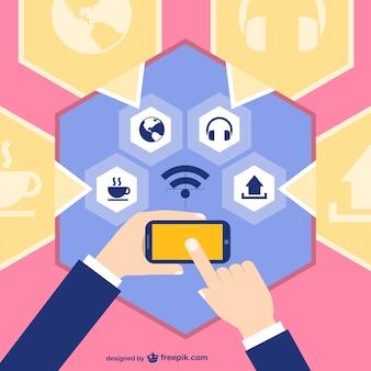Medios de comunicación social en dispositivo táctil