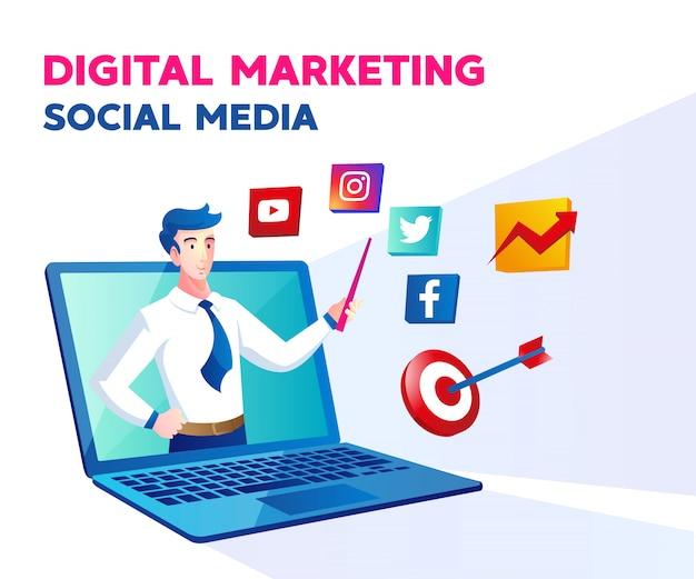 Medios de comunicación social de marketing digital con un hombre y un símbolo de computadora portátil