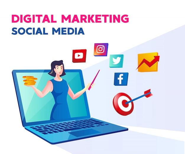 Medios de comunicación social de marketing digital con una mujer y un símbolo de computadora portátil