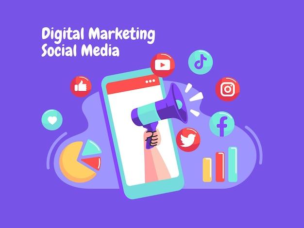 Medios de comunicación social de marketing digital con un símbolo de megáfono y teléfono inteligente