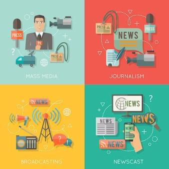 Los medios de comunicación social periodismo transmitiendo noticias concepto de elenco iconos de negocios planos conjunto de paparazzi profesión radio en vivo para el diseño de infografías elementos web