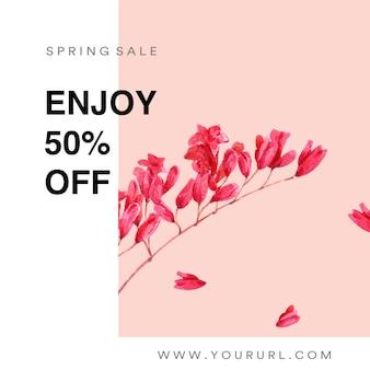 Los medios de comunicación social de la primavera enmarcan las flores frescas, tarjeta de la decoración con jardín colorido floral, boda, invitación