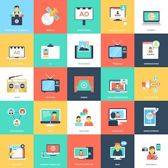 Medios y publicidad iconos de vector plano