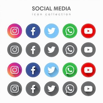 Medios sociales iconos simples