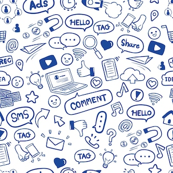 Los medios sociales en la mano dibujados garabatos de patrones sin fisuras