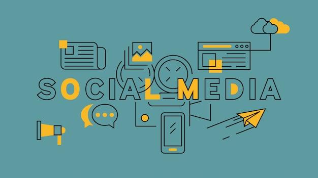 Medios sociales naranja en diseño de línea azul