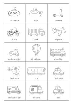 Medios de transporte de dibujos animados con nombres en inglés.