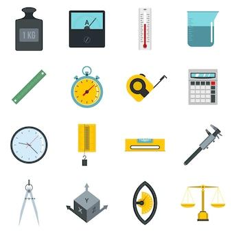 Medir los iconos de precisión establecidos en estilo plano