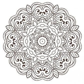La meditación étnica del mandala del fractal se parece a snowflake o maya aztec.
