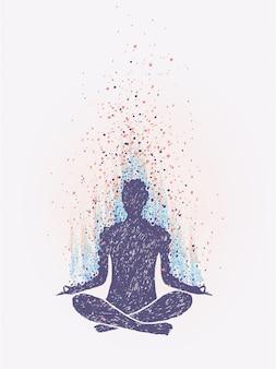 Meditación, iluminación. sensación de vibraciones. dibujado a mano ilustración colorida.