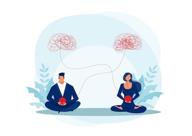 Meditación de mujer y hombre, psicólogo ayuda ilustración