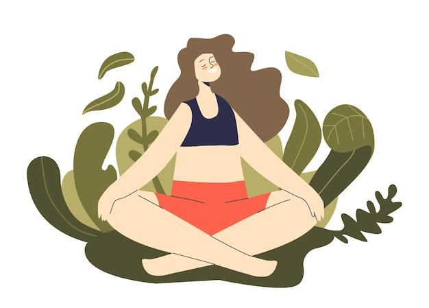 Meditación en la naturaleza: mujer consciente meditando práctica zen y entrenamiento de yoga