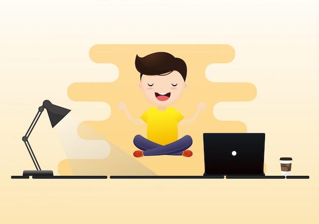 Meditación que se sienta del hombre joven con la bombilla. concepto de pensamiento creativo
