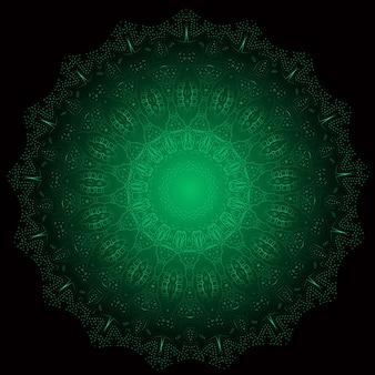 La meditación del vector de mandala que brilla intensamente del fractal étnico parece un copo de nieve o un patrón o flor maya azteca