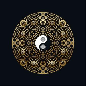 Meditación con yin yang sign in mandala