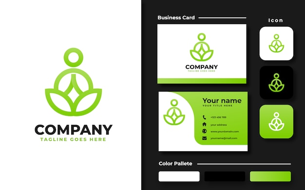 Meditación de yoga con plantilla de logotipo de hoja y tarjeta de visita