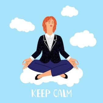 Meditaciones de la mujer en la ilustración de las nubes