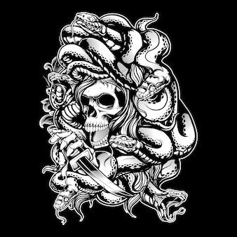 Medusa con dibujo a mano de serpiente