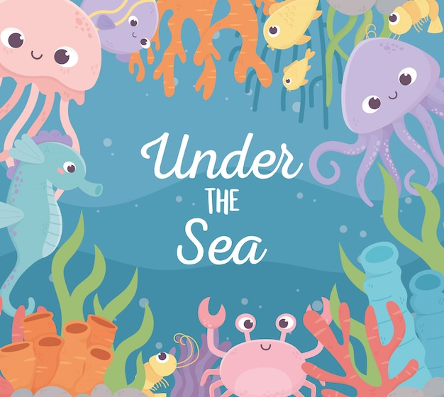 Medusa pulpo peces camarones cangrejo vida arrecife de coral dibujos animados bajo el mar