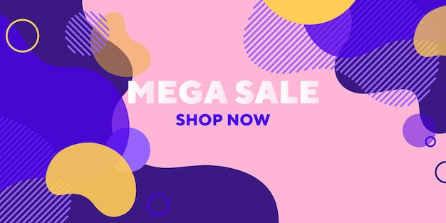 Mega banner abstracto de venta con formas superpuestas