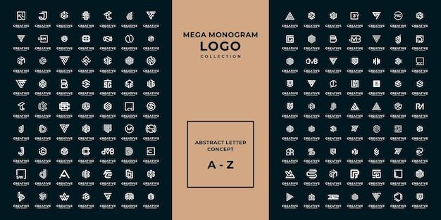 Mega logo monograma, inicial, alfabeto y colección de logotipos de letras a - z