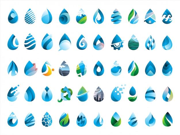 Mega pack de 50 gotas de agua icono