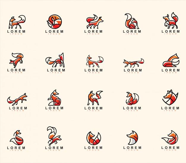 Mega paquete de logotipo abstracto de lobo