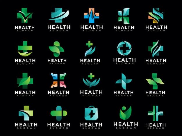 Mega paquete de logotipo médico de salud