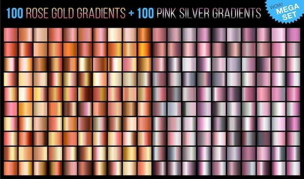 Mega set de 100 gradientes de oro rosa y 100 de plata rosa. Vector Premium