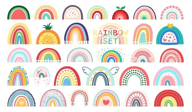 Mega set boho rainbows aislado sobre fondo blanco en lindos delicados colores pastel