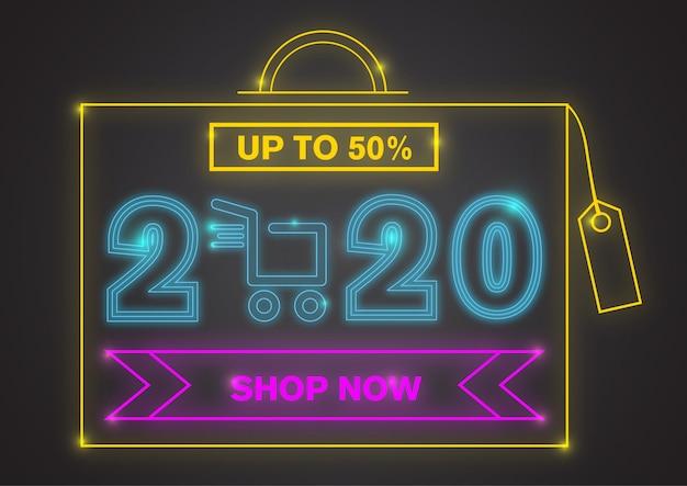 Mega venta de año nuevo 2020 con luz de neón colorida