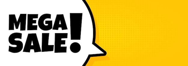 Mega venta. banner de burbujas de discurso con texto de mega venta. altoparlante. para negocios, marketing y publicidad. vector sobre fondo aislado. eps 10.