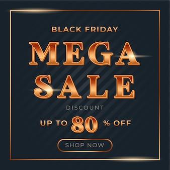 Mega venta cuadrada con fuente de degradado dorado brillante para banner de venta de viernes negro