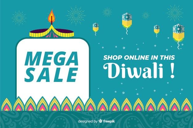 Mega venta para evento de diwali en diseño plano