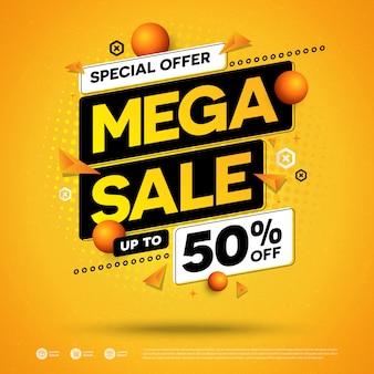 Mega venta oferta especial diseño cuadrado