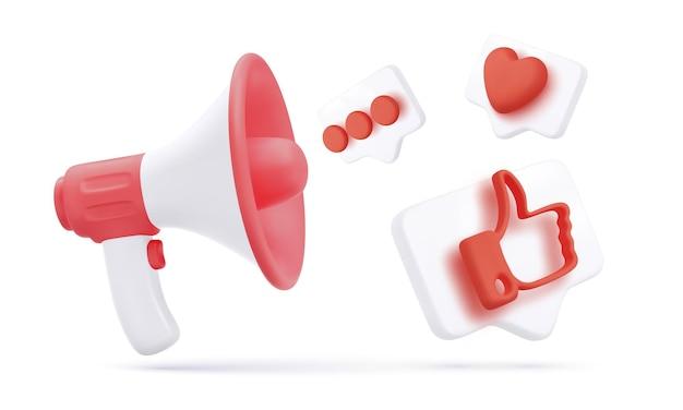 Megáfono 3d blanco y rojo con iconos sociales voladores aislados sobre fondo blanco. ilustración vectorial