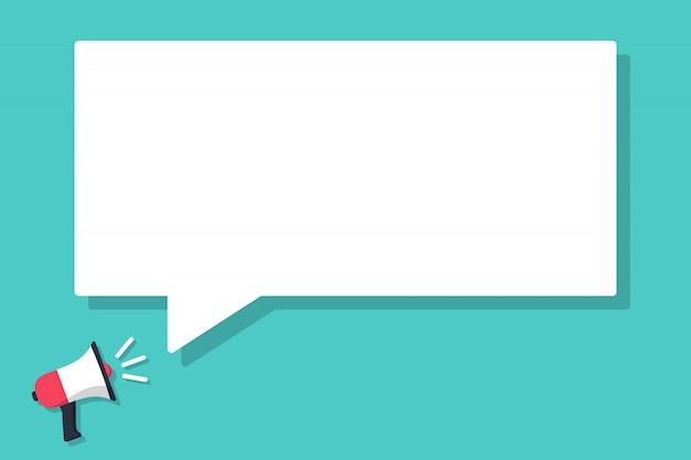 Megáfono anunciado con globo de diálogo en un diseño plano