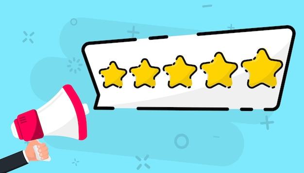 Megáfono y bocadillo con cinco estrellas doradas. revisión del cliente. concepto de retroalimentación. revisión de clientes de calidad de reputación de comentarios en línea, concepto de negocio para aplicaciones y sitios web
