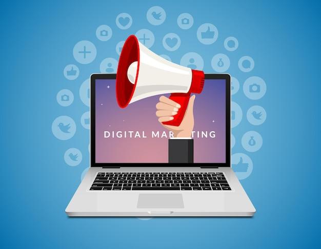 Megáfono de computadora portátil, diseño de concepto plano de vector de marketing digital. tecnología de marketing de promoción de publicidad empresarial.