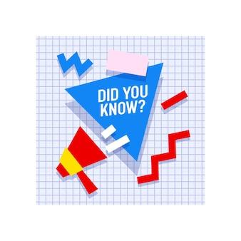 Megáfono con cotización ¿sabías que y formas geométricas?