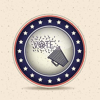 Megáfono dentro del icono del botón. elección del voto y tema del gobierno. diseño aislado. illustrati del vector
