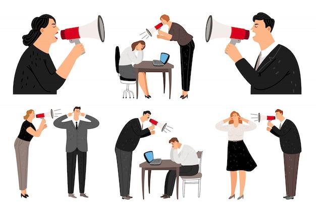 Megáfono gritando empresarios